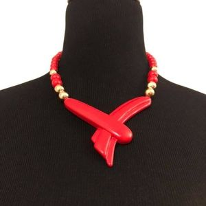 Vintage Red & Gold Retro Choker Necklace